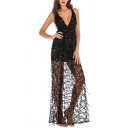 Unique Womens Dress Sequin Fringe Backless Deep V Neck Sleeveless Slim Fitted Maxi A-Line Swing Dress