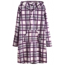 Fancy Women's Hoodie Dress All over Heart Printed Front Pocket Button Detailed Fuzzy Ball Drawstring Long Sleeves Midi Hoodie Dress