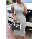 Casual Girls' Short Sleeve Round Neck Ruched Grey Cotton Midi Sheath T Shirt Dress