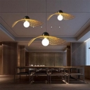 Beige Woven Floppy Hat Pendant Asia 1-Light Bamboo Hanging Ceiling Light for Tearoom, 14