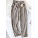 Fancy Women's Pants Hand-Dye Pattern Rolled Cuffs Pockets Elastic Waist Long Regular Fitted Trousers
