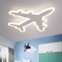 White Airplane Ceiling Flush Light Kids LED Acrylic Flush-Mount Light Fixture in Warm/White Light, 12