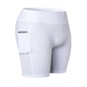 Novelty Womens Shorts Plain Side Pockets Mention Hip Skinny Fitted Elastic Waist Yoga Shorts