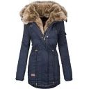 Womens Coat Stylish Drawstring Waist Fur-Trimmed Zipper up Long Sleeve Slim Fit Mid-Length Parka