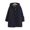 Trendy Women's Coat Solid Color Pocket Design Horn Button Hooded Long Sleeves Relaxed Fit Coat