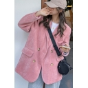 Fancy Women's Suit Jacket Solid Color Flap Pockets Double-Breasted Lapel Collar Long-sleeved Relaxed Fit Suit Jacket
