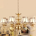 Scalloped Bedroom Ceiling Hang Lamp Traditional Frosted Glass 8-Head Brass Chandelier Lamp