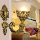 Bronze Scroll Arm Wall Lamp Traditional Metal Single Bedroom Wall Lighting with Flared Milk Glass Shade