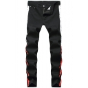 Men's New Stylish Cool Stripe Side Stretch Skinny Ripped Jeans in Black