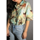 Vintage Angel Print Short Sleeves Button Up Loose Fit Green Summer Shirt