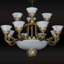 Flared Alabaster Glass Chandelier Traditional 15 Lights Lobby Ceiling Hang Lamp in Brass