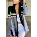 Trendy Women's Jacket Color Block Patchwork Contrast Stripe Pattern Stand Collar Button-down Regular Fitted Casual Jacket