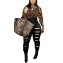 Classic Womens Jumpsuit Leopard Skin Denim Pattern Panel Cut-out Detail Mock Neck Skinny Fitted Long Sleeve Jumpsuit