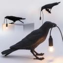 Resin Bird Shaped Night Lamp Designer 1 Head Black Finish Table Lamp for Bedroom