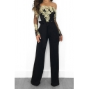 Novelty Womens Jumpsuit Floral Embroidered Tie-Waist Long Sleeve off Shoulder Slim Fitted Wide Leg Jumpsuit
