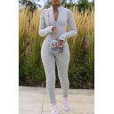 Creative Womens Sport Jumpsuit Solid Color Zipper Front Long Sleeve Mock Neck Skinny Fitted Jumpsuit