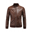Mens Jacket Trendy Diamond Quilted Rib Trim Zipper Detail Stand Collar Regular Fit Long Sleeve Leather Jacket