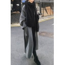 Fancy Women's Woolen Coat Space Dye Knitted Side Slits Open Front Pocket Detail Notched Collar Long Sleeves Relaxed Fitted Woolen Coat with Belt