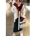 Fancy Women's Co-ords Contrast Trim Color Block Ribbed Knitted Drawstring Relaxed Fitted Cardigan with Strap Slim Fitted Sweater Dress Set