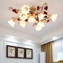 Red 4/7/9 Bulbs Ceiling Mount Light Pastoral Flower White Glass Blossom Semi Flush Light Fixture