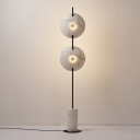 Swivelable Disc Shade Floor Lamp Postmodern Resin Black and White LED Standing Light
