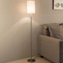 Cylindrical Fabric Floor Light Minimalist 1 Head Chrome Reading Floor Lamp for Living Room