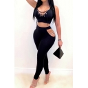 Elegant Women's Set Lace up Front Plain Hollow out Drawstring Sleeveless Tank Top with Long Pants Co-ords
