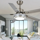 Circle Dining Room Semi Flush Mount Lamp Acrylic Modern 5 Blades LED Ceiling Fan Lighting in Silver/Nickel, 42