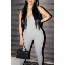 Womens Jumpsuit Chic Solid Color Rib Knit Mention Butt Backless Sleeveless Spaghetti Strap Skinny Fitted Jumpsuit