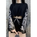 Stylish Womens Sweatshirt Chain Embellished Dragon Pattern Crew Neck Long Sleeves Loose Fitted Pullover Sweatshirt