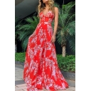 Trendy Women's Long Dress Floral Pattern Waist Banded V Neck Strapped Sleeveless Slim Fitted Long A-Line Dress