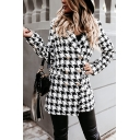 Fancy Womens Woolen Coat Plaid Houndstooth Pattern Double-Breasted Flap Pockets Notched Collar Long Sleeve Regular Fitted Coat
