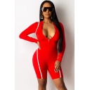 Womens Romper Stylish Contrast Piping Zipper Front Long Sleeve Crew Neck Slim Fitted Romper