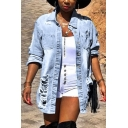 Trendy Women's Denim Jacket Distressed Chest Pockets Button-down Long Sleeves Spread Collar Regular Fitted Denim Jacket with Washing Effect