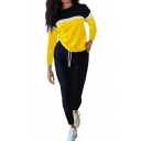Vintage Womens Co-ords Color Block Panel Long Sleeve Round Neck Sweatshirt Slim Fitted Pants Co-ords