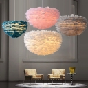 Hemisphere Bedroom Pendulum Light Feather 1-Light Romantic Nordic Pendant Lighting in Grey/Pink/White