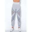 Sporty Women's Yoga Leggings Color Block Contrast Panel Stripe Pattern High Elasticity Waist Ankle Length Skinny Leggings