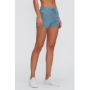 Elegant Women's Shorts Solid Color Quick Dry Side Pockets Drawstring Mid Waist Regular Fitted Shorts