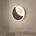 Modern LED Flush Mount Wall Light Black/White Moon Sconce Light Fixture with Acrylic Shade, Warm/White Light