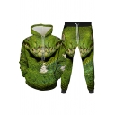 Mens 3D Co-ords Creative Snake Pattern Long Sleeve Hoodie Ankle Length Tapered Pants Slim Fit Jogger Co-ords