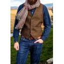 Mens Vest Fashionable Grid Print Button up V Neck Sleeveless Slim Fitted Vest with Pockets