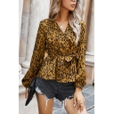 Elegant Blouse All over Leopard Print Waist-Tied V Neck Long Bishop Sleeves Fitted Blouse for Women