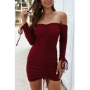 Sexy Women's Bodycon Dress Solid Color Ruched Detail off the Shoulder Long Sleeves Bodycon Dress