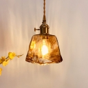 Amber Cloud Glass Round/Cube/Cone Pendant Post-Modern Single Ceiling Suspension Lamp with Rotary Switch