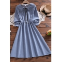 Casual Shirt Dress Solid Color Tie Button Detail Elastic Waist Ruffles Peter Pan Collar Long Sleeves Regular Fit Midi Shirt Dress for Women