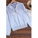 Youthful Women's Knit Top Lace Trims Tie Neck Stand Collar Long Sleeved Fitted Sweater