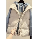 Womens Vest Fashionable Solid Color Pockets Zipper up Mock Neck Sleeveless Relaxed Fit Down Vest