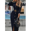 Unique Womens Dress Plain Buckle Belted Button Detail Midi Slim Fitted V Neck Long Sleeve Bodycon Dress