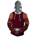 Retro Mens Hoodie Cosplay 3D Ahsoka Tano Contrast Zipper Fly Long Sleeve Slim Fit Hooded Sweatshirt