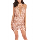 Basic Womens Dress Sequin Fringe Cut out Front Backless Halter Neck Sleeveless Slim Fitted Mini Bodycon Dress